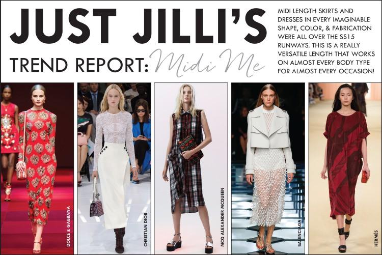 SS15 Fashion Trends, Midi Trend, Midi Length Skirt, Midi Length Dress, McQ Alexander McQueen SS15, Christian Dior SS15, Balenciaga SS15, Dolce & Gabbana SS15, Hermes SS15, Women's Fashion Trends, Trend Report